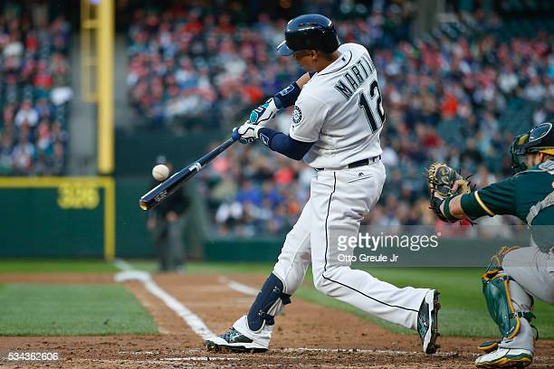 Leonys Martin of the Seattle Mariners hits an RBI single in the third inning against the Oakland Athletics at Safeco Field on May 25 2016 in Seattle...