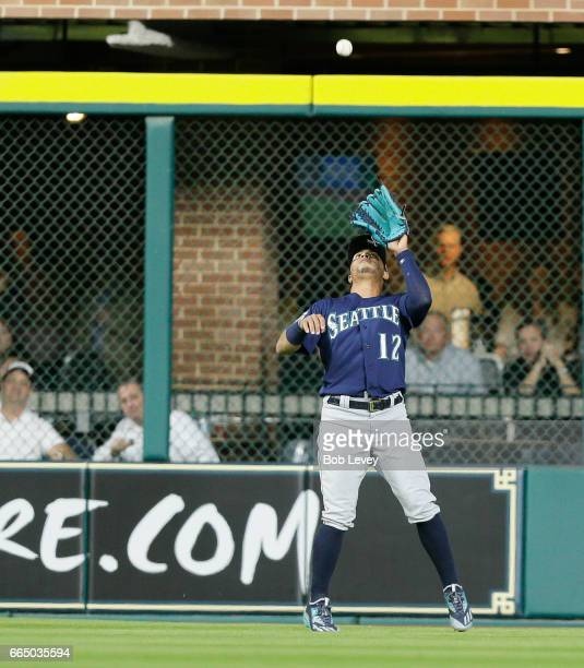 Leonys Martin of the Seattle Mariners makes a catch on deep fly ball by Carlos Correa of the Houston Astros in the third inning at Minute Maid Park...