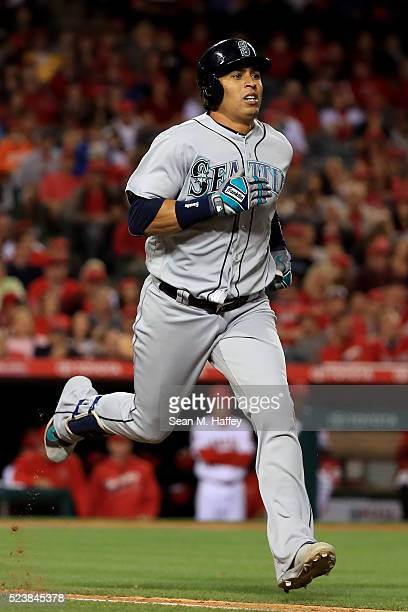Leonys Martin of the the Seattle Mariners flys out during the second inning of a baseball game between the Los Angeles Angels of Anaheim and the...