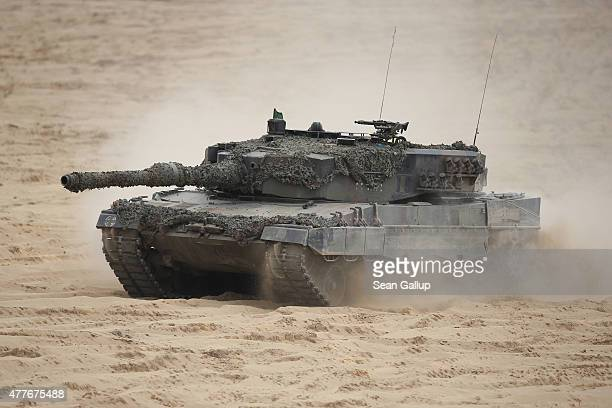 Leopard 2 tank of the Polish Army participates in the NATO Noble Jump military exercises of the VJTF forces on June 18 2015 in Zagan Poland The VJTF...