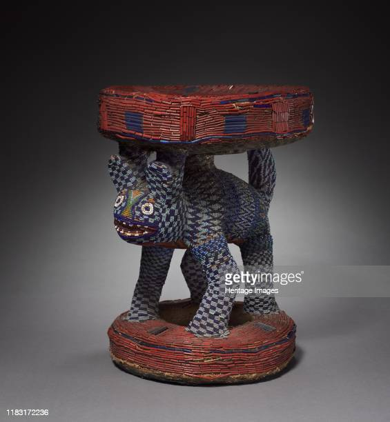 Leopard Caryatid Stool possibly 1800s Beadcovered wooden stools and thrones are one of the most prevalent art forms among the various kingdoms and...