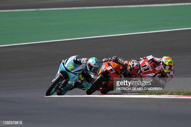 Leopard Racing's Italian rider Dennis Foggia, Red Bull KTM Ajo's Spanish rider Pedro Acosta and GASGAS Gaviota Aspar's Spanish rider Sergio Garcia...