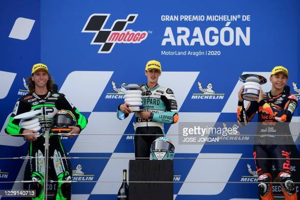 Leopard Racing´s Spanish rider Jaume Masia , CIP Green Power's South African rider Darryn Binder and Red Bull KTM Ajo´s Spanish rider Raul Fernandez...