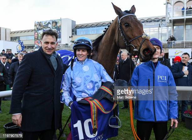 Leopardstown Ireland 1 February 2020 Jockey Rachael Blackmore centre with trainer Henry De Bromhead after winning the PCI Irish Champion Hurdle on...