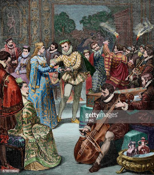 Leopold I . Holy Roman Emperor. Bridal Party of Leopold I and Margaret Theresa of Spain. Engraving by H. Kaefeberg in Germania, 1882. Colored.