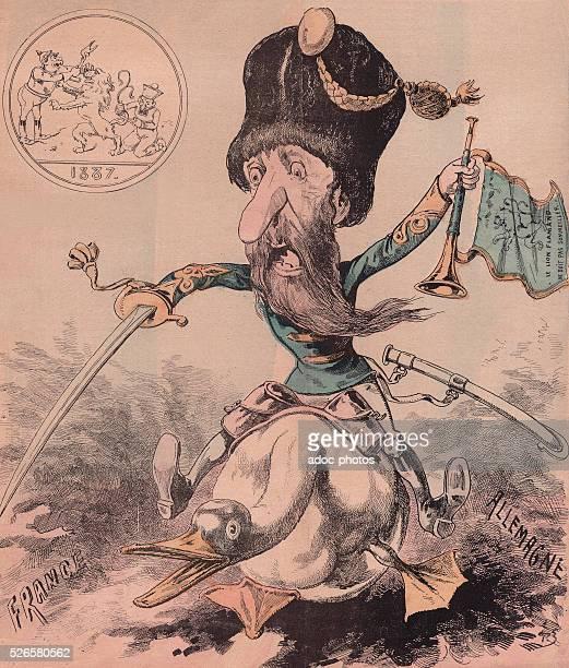 Leopold II of Belgium , second King of the Belgians . Ca. 1887. Caricature.