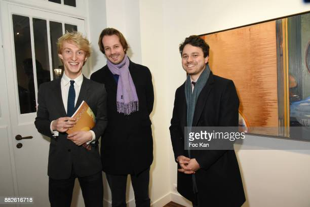 Leopold Legros from Galerie TLand auctioneers Arthur de Moras and Theo Lavignon attend the Tribute to Leonardo Cremonini Exibition Preview at Galerie...