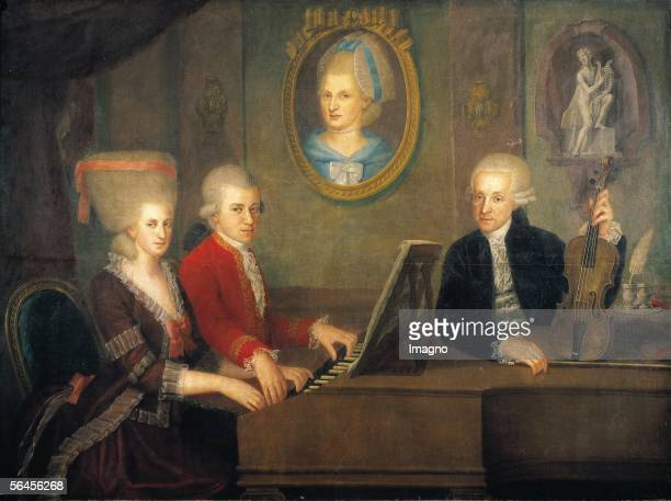 Leopold Mozart with his children Wolfgang and Nannerl at the piano the portrait of their deceased mother on the wall Oil on Canvas by Johann Nepomuk...