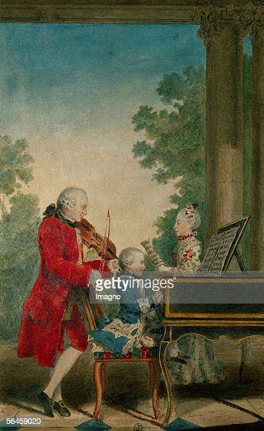 Leopold Mozart with Wolfgang Amadeus and Nannerl Watercolour 1763 [Leopold Mozart beim Musizieren mit Wolfgang Amadeus and Nannerl Aquarell 1763]