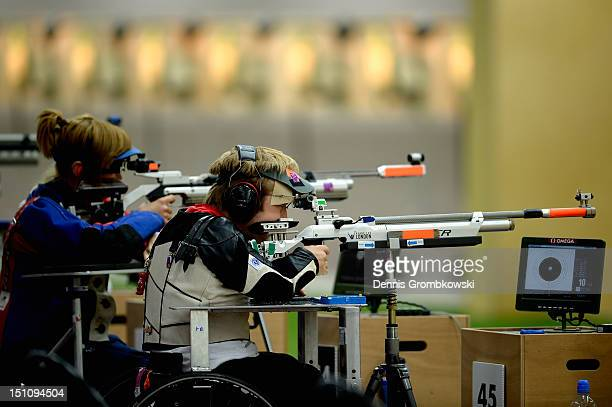 Leopold Rupp of Germany competes in the Mixed R5-10m Air Rifle Prone SH2 qualification round on day 3 of the London 2012 Paralympic Games at The...