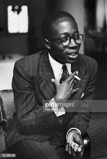 Leopold Sedar Senghor , the French Senagalese delegate to the Council of Europe Assembly at Strasbourg University, August 1949. Original Publication...