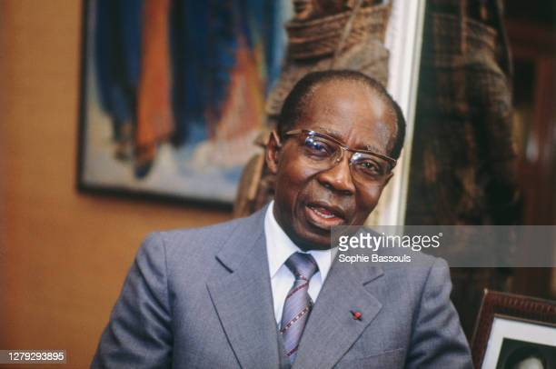 Leopold Senghor at home in Paris. Formerly the president of the Republic of Sengeal, Senghor, an avid writer, was elected to the Academie Francaise...