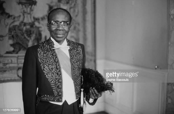 Leopold Senghor entre à l'Académie Française - Leopold Sedar Senghor lors de la cérémonie par laquelle il entre dans le cercle des Immortels. Paris,...
