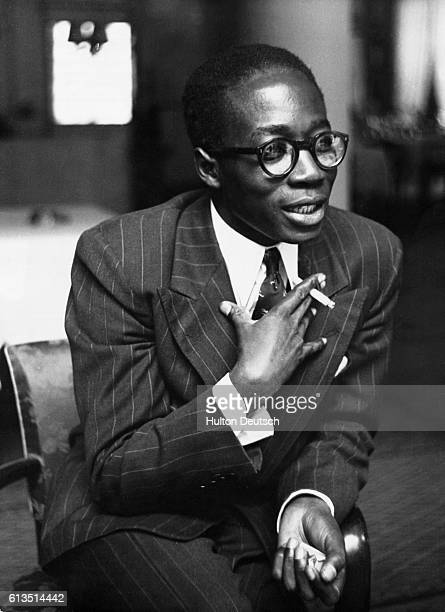 Leopold Senghor, Senegalese independence leader and poet, speaks during a visit to Strasbourg as a delegate to the Council of Europe.
