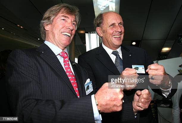 Leopold von Bayern and German Formula1Legend Joachim Stuck attend the opening of the BMW World on October 17 2007 in Munich Germany BMW World is a...