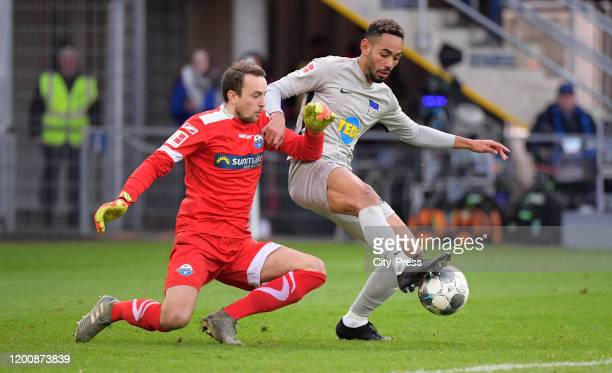 Leopold Zingerle of SC Paderborn and Matheus Cunha of Hertha BSC during the game between the SC Paderborn 07 against Hertha BSC on february 15 2020...