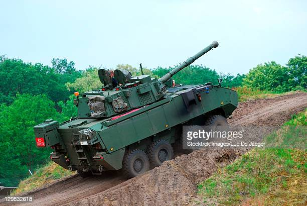 Leopoldsburg, Belgium - An armored infantry vehicle DF 90 Piranha IIIC with the LCTS90 weapon system (Cockerill Mk8 90 mm gun) in use with the Belgian Army.