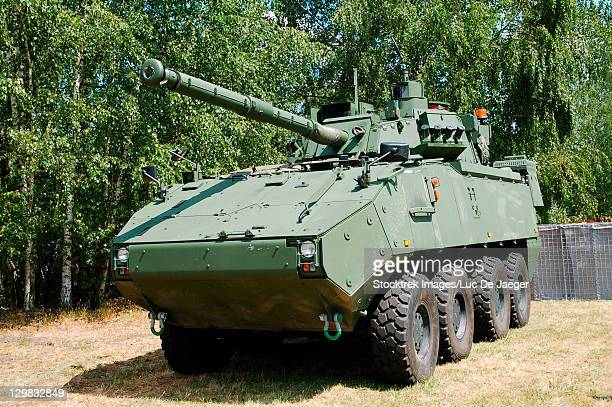 Leopoldsburg, Belgium - An armored infantry vehicle DF 90 Piranha IIIC with the LCTS90 weapon system (Cockerill Mk8 90mm gun) in use with the Belgian Army.