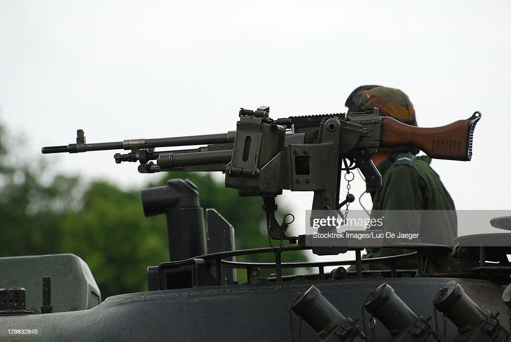 Leopoldsburg Belgium The Fn Mag Gun On The Turret Of The Leopard 1a5