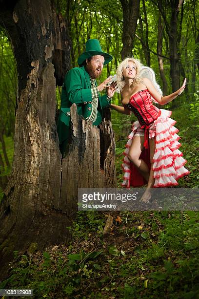 Leprechaun and fairy with big tit