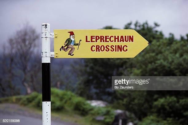 leprechaun crossing sign - leprechaun stock pictures, royalty-free photos & images