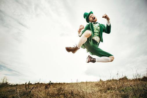 Leprechaun Man Dancing on St. Patricks Day 538148163