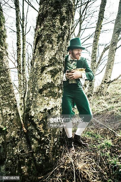 Leprechaun Man Hiding Pot of Gold