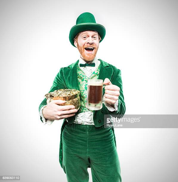 Leprechaun Man with Beer and Gold