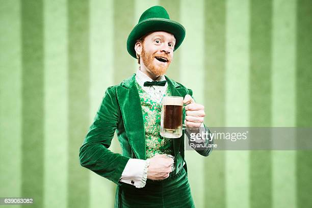 leprechaun man with beer - leprechaun stock pictures, royalty-free photos & images