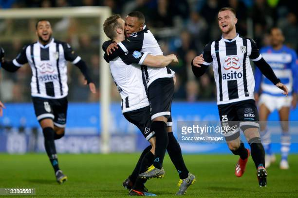 Lerin Duarte of Heracles Almelo celebrates 12 with Bart van Hintum of Heracles Almelo Joey Konings of Heracles Almelo during the Dutch Eredivisie...
