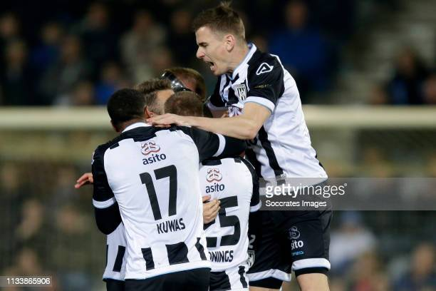 Lerin Duarte of Heracles Almelo celebrates 12 with Bart van Hintum of Heracles Almelo Joey Konings of Heracles Almelo Brandley Kuwas of Heracles...