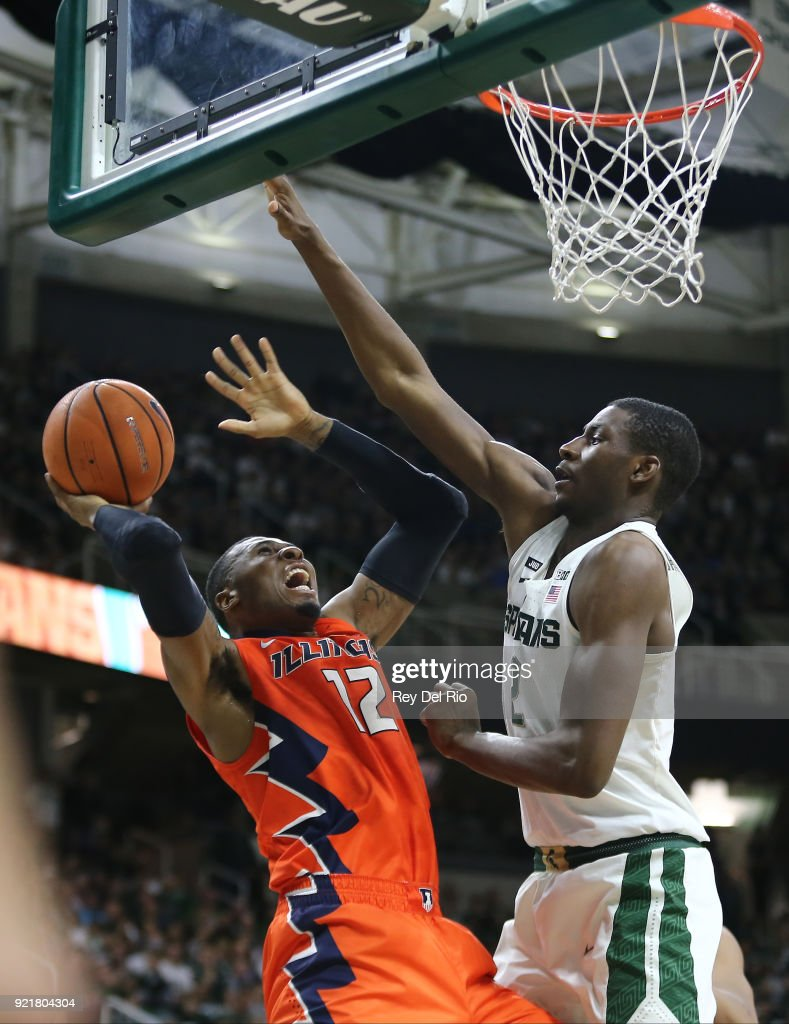 Leron Black #12 of the Illinois Fighting Illini looks to shoots over Jaren Jackson Jr. #2 of the Michigan State Spartans at Breslin Center on February 20, 2018 in East Lansing, Michigan.