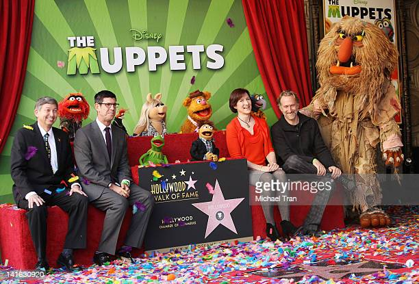 Leron Gubler, Disney's Rich Ross, Miss Piggy, Kermit, Fozzie, Walter, Animal, Pepe, Gonzo, Sweetums, Lisa Henson and Brian Henson attend the ceremony...