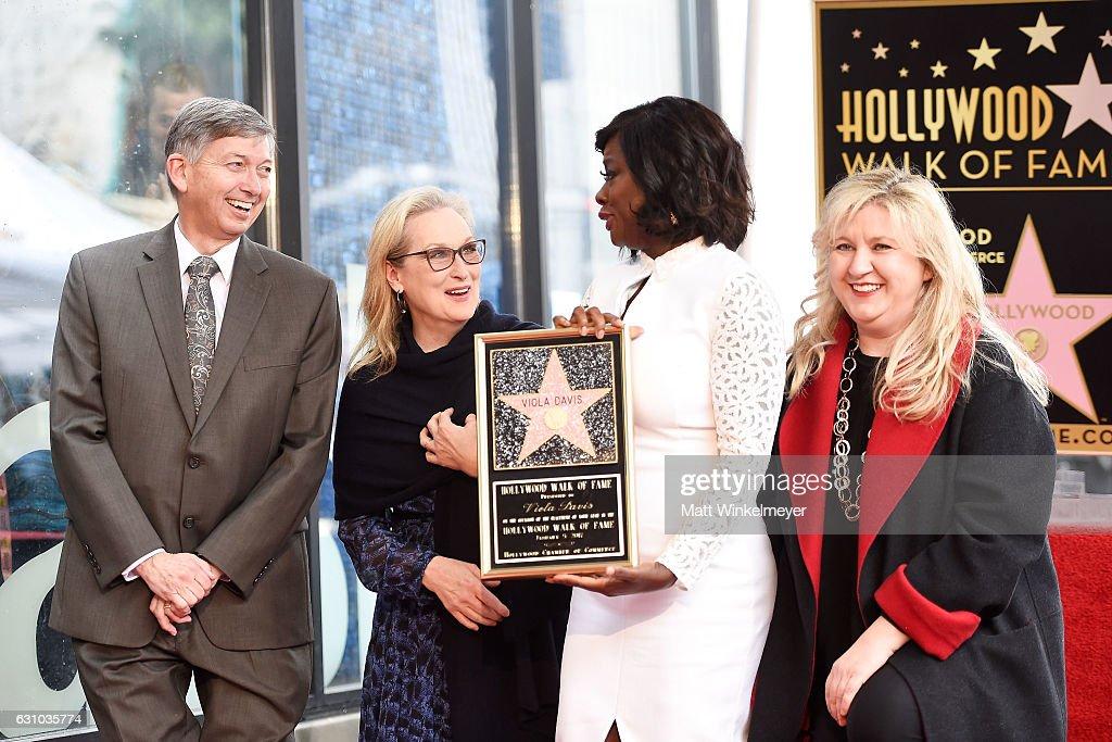 Leron Gubler, Meryl Streep, Viola Davis and Fariba Kalantari attend a ceremony honoring Viola Davis with star on the Hollywood Walk of Fame on January 5, 2017 in Hollywood, California.