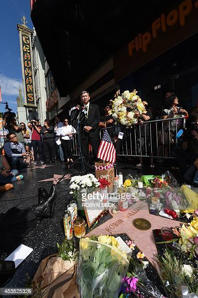 Leron Gubler president and CEO of the Hollywood Chamber of Commerce speaks at actor/comedian Robin Williams' star on the Hollywood Walk of Fame after...