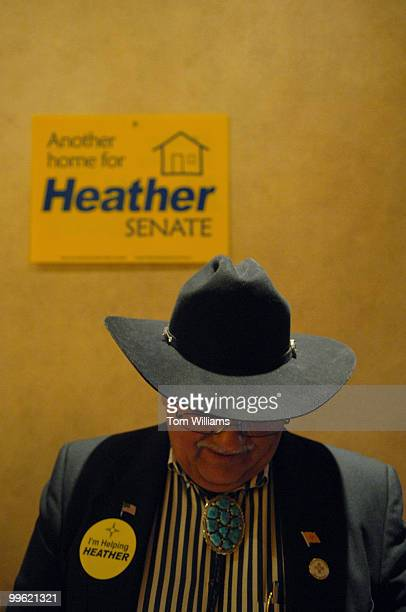 LeRoy Candelaria of Estancia NM waits for the arrival of Rep Heather Wilson RNM during an ice cream reception the day prior to the state republican...