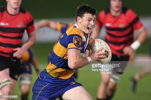 Leroy Carter of the Bay of Plenty makes a break during the Jock Hobbs U19 Rugby Tournament on September 15 2018 in Taupo New Zealand