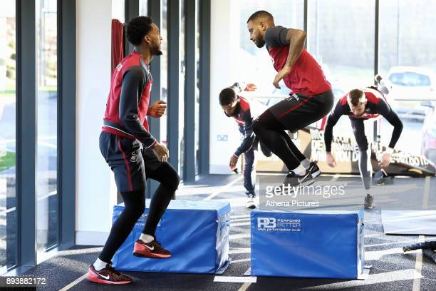 Leroy Fer and Luciano Narsingh exercise in the gym during the Swansea City Training at The Fairwood Training Ground on December 15 2017 in Swansea...