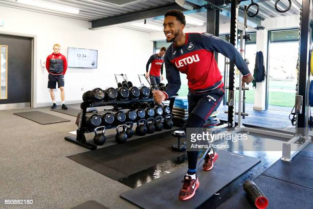 Leroy Fer exercises in the gym during the Swansea City Training at The Fairwood Training Ground on December 15 2017 in Swansea Wales