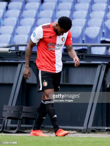 Leroy Fer of Feyenoord injury during the Dutch Eredivisie match between Feyenoord v Sparta at the Stadium Feijenoord on October 18 2020 in Rotterdam...