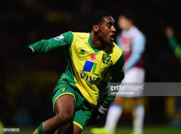 Leroy Fer of Norwich City celebrates as he scores their third goal during the Barclays Premier League match between Norwich City and West Ham United...