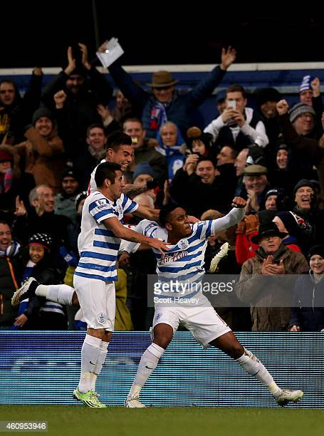 Leroy Fer of QPR celebrates with teammates after scoring the opening goal during the Barclays Premier League match between Queens Park Rangers and...