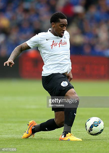 Leroy Fer of QPR in action during the Premier League match between Leicester City and Queens Park Rangers at The King Power Stadium on May 24 2015 in...