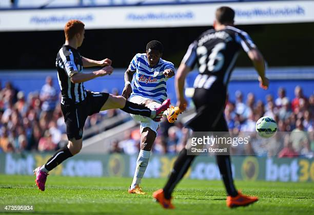 Leroy Fer of QPR scores his team's second goal during the Barclays Premier League match between Queens Park Rangers and Newcastle United at Loftus...