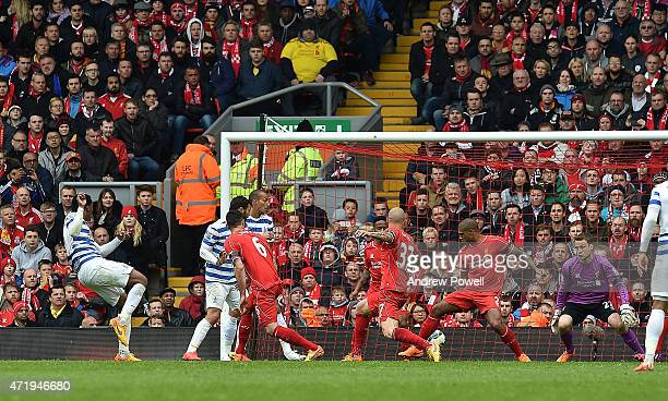 Leroy Fer of Queens Park Rangers scores the equaliser during the Barclays Premier League match between Liverpool and Queens Park Rangers at Anfield...