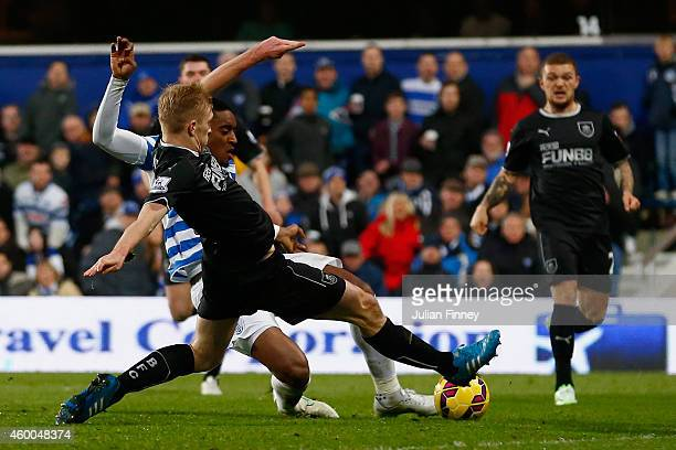 Leroy Fer of Queens Park Rangers scores the first goal during the Barclays Premier League match between Queens Park Rangers and Burnley at Loftus...