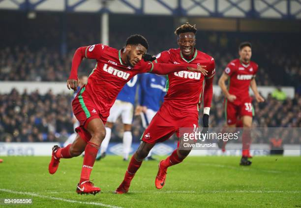Leroy Fer of Swansea City celebrates as he scores their first goal with Tammy Abraham during the Premier League match between Everton and Swansea...