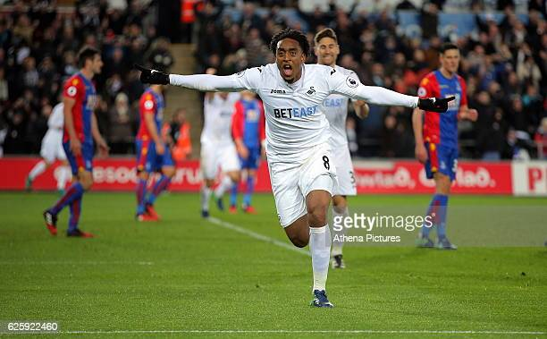 Leroy Fer of Swansea City celebrates his first goal making the score 21 to his team during the Premier League match between Swansea City and Crystal...