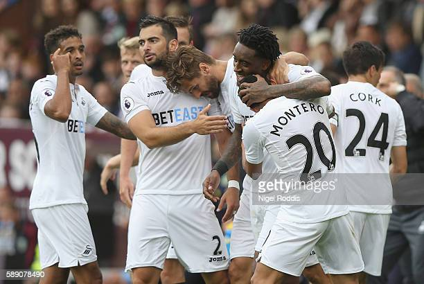 Leroy Fer of Swansea City celebrates scoring his sides first goal with his team mates during the Premier League match between Burnley and Swansea...