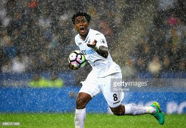Leroy Fer of Swansea City celebrates scoring his sides first goal during the Premier League match between Leicester City and Swansea City at The King...
